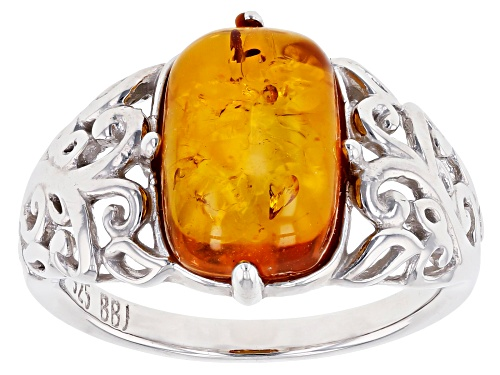 Photo of 12x8MM CUSHION CABOCHON AMBER RHODIUM OVER STERLING SILVER RING - Size 7