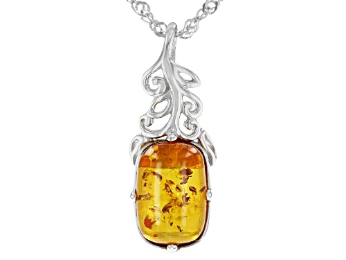 Photo of 12X8MM CUSHION CABOCHON AMBER RHODIUM OVER STERLING SILVER PENDANT WITH CHAIN
