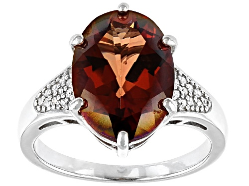 Photo of 4.33ct Red Labradorite with .08ctw White Diamond Accent Rhodium Over Sterling Silver Ring - Size 7