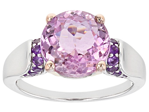 Photo of 3.99ct round Kunzite with .21ctw round African Amethyst Rhodium Over Sterling Silver Ring - Size 7