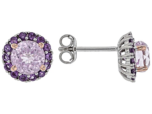 Photo of 1.88ctw round Kunzite with .33ctw round African Amethyst Rhodium Over Sterling Silver Stud Earrings