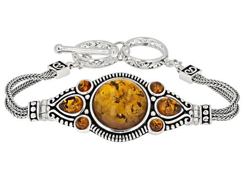 Photo of MIXED SHAPES CABOCHON AMBER RHODIUM OVER STERLING SILVER BRACELET - Size 7.25