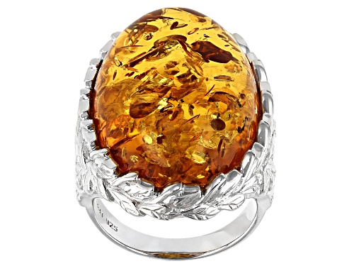 Photo of 25x18mm Oval Cabochon Amber Rhodium Over Sterling Silver Solitaire Ring - Size 7