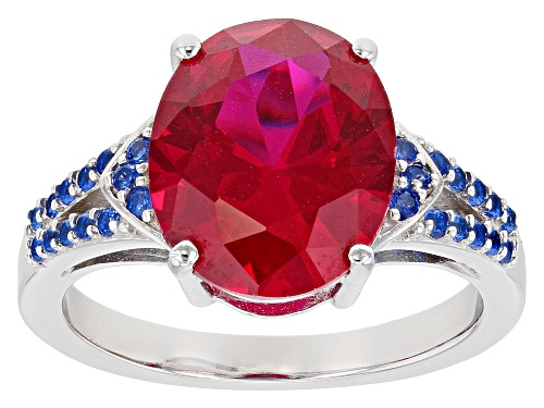 Photo of 5.41ct Oval Lab Created Ruby With .66ctw Round Lab Created Blue Spinel Rhodium Over Silver Ring - Size 9