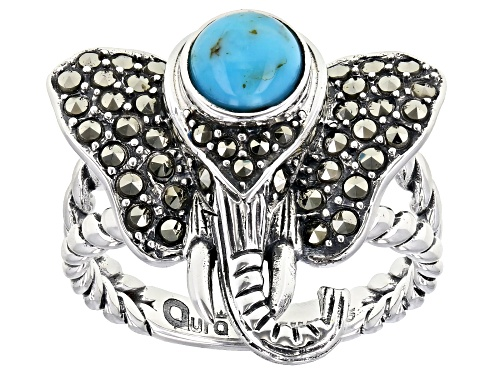 Photo of 6mm round turquoise with 0.58ctw round marcasite sterling silver elephant ring - Size 8