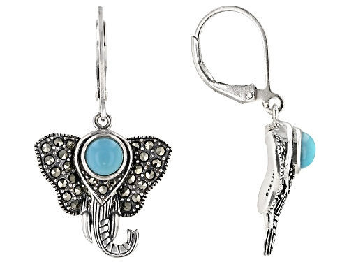 Photo of 5mm round turquoise with 0.80ctw marcasite sterling silver elephant sterling silver dangle earrings