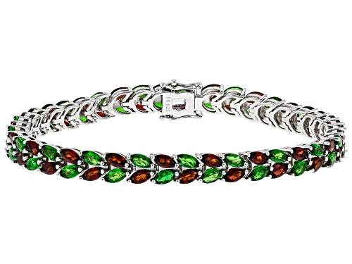 Photo of 5.68ctw Marquise Vermelho Garnet(TM) & 5.58ctw Chrome Diopside Rhodium Over Silver Ombre Bracelet - Size 8