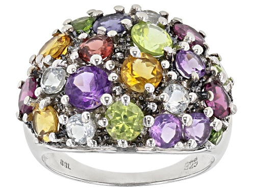 Photo of 3.91ctw Mixed Multi-Gemstones Rhodium Over Sterling Silver Cluster Dome Ring - Size 7
