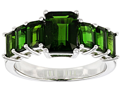 Photo of 3.03ctw Emerald Cut Chrome Diopside Rhodium Over Sterling Silver Band Ring - Size 8