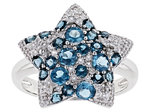 Photo of 1.69ctw Round Glacier Topaz(TM), London Blue & White Topaz Rhodium Over Silver Star Ring - Size 7