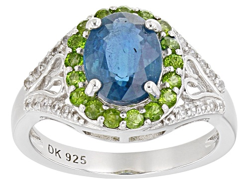 Photo of 2.04ct Oval Teal Chromium Kyanite With .72ctw Chrome Diopside & Zircon Rhodium Over Silver Ring - Size 8