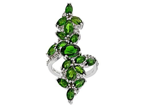 Photo of 1.19ct Oval & 4.04ctw Marquise Chrome Diopside With .63ctw Zircon Rhodium Over Silver Ring - Size 7