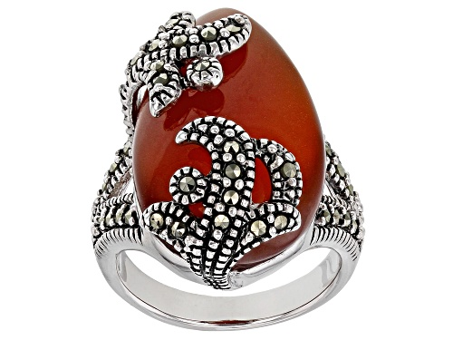 Photo of 24x13mm Pear Shape Cabochon Red Onyx With Marcasite rhodium over Sterling Ring - Size 7