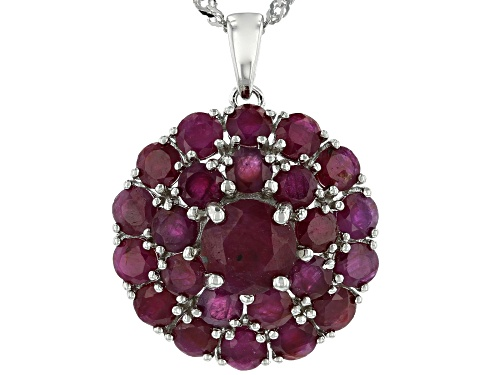 Photo of 6.75ctw Round Indian Ruby Rhodium Over Sterling Silver Medallion Pendant With Chain
