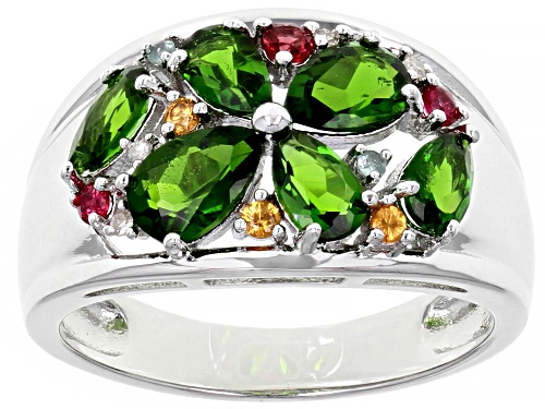Photo of 1.49ctw Pear Shape Chrome Diopside & .20ctw Multi-Gemstone Rhodium Over Silver Band Ring - Size 6