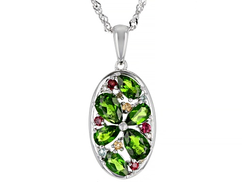 Photo of 1.49ctw Pear Shape Chrome Diopside & .20ctw Multi-Gemstone Rhodium Over Silver Pendant W/ Chain