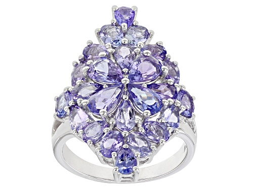 Photo of 3.37ctw Pear Shape and 1.53ctw Oval Tanzanite Rhodium Over Sterling Silver Ring - Size 8