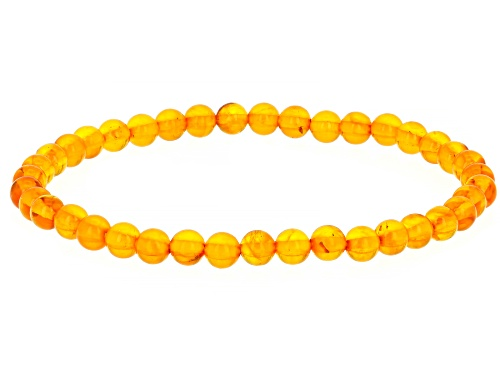 Photo of 5MM ROUND AMBER BEAD STRETCH BRACELET