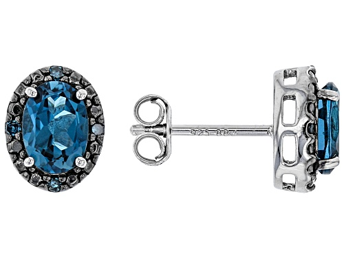 Photo of 1.70ctw Oval London Blue Topaz & .05ctw Blue Diamond Accent Rhodium Over Silver Stud Earrings