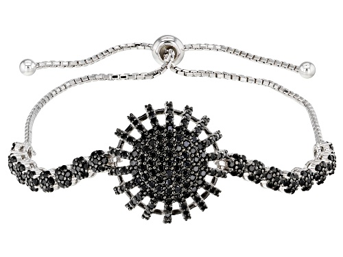 "Photo of 1.06ctw Round Black Spinel Rhodium Over Silver Bolo Bracelet, Adjusts to Approximately 6""-9"""