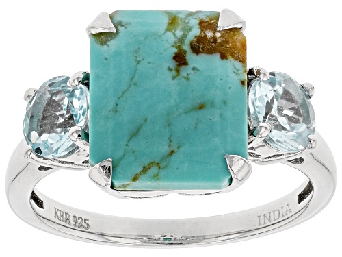 Photo of 11x9mm Blue Kingman Turquoise with Glacier Topaz™ Rhodium Over Sterling Silver Ring - Size 8