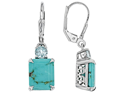 Photo of 10x8mm Emerald Cut Kingman Turquoise with .27ctw Glacier Topaz™ Rhodium Over Silver Dangle Earrings