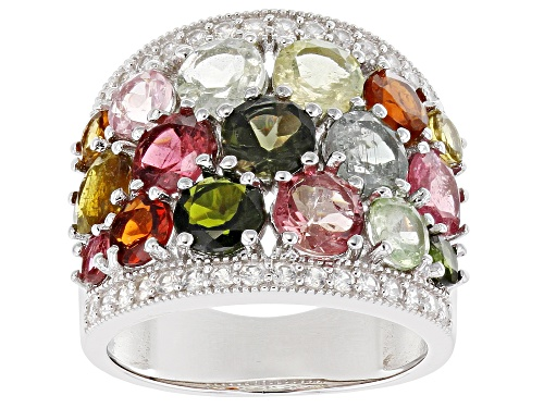 Photo of 4.91ctw Round Multi-Color Tourmaline & .51ctw Round Zircon Rhodium Over Silver Band Ring - Size 8