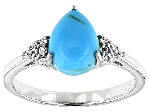 Photo of 9x7mm Pear Shape Kingman Turquoise with .08ctw Round White Topaz Rhodium Over Sterling Silver Ring - Size 9