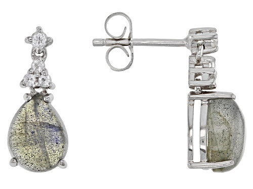 Photo of 9x7mm Labradorite with .09ctw White Topaz Rhodium Over Sterling Silver Dangle Earrings