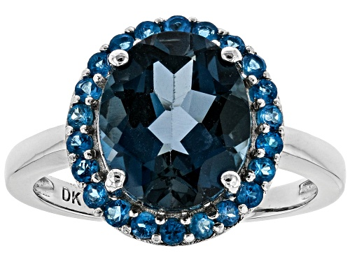 Photo of 3.74ct Oval London Blue Topaz With .37ctw Round Neon Apatite Rhodium Over Silver Halo Ring - Size 8
