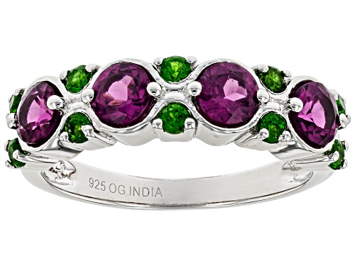 Photo of 1.25ctw Raspberry Color Rhodolite with .30ctw Russian Chrome Diopside Rhodium Over Silver Band Ring - Size 10