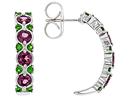 Photo of 3.10ctw Raspberry Color Rhodolite and Russian Chrome Diopside Rhodium Over Silver J-Hoop Earrings