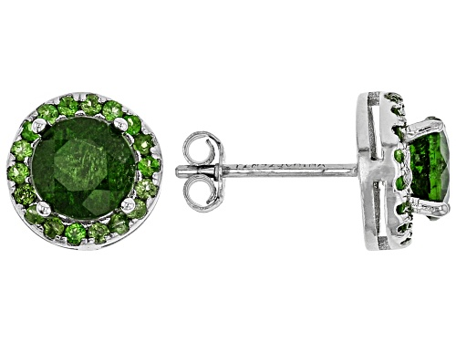 Photo of 1.94ctw round Russian chrome diopside rhodium over sterling silver stud earrings