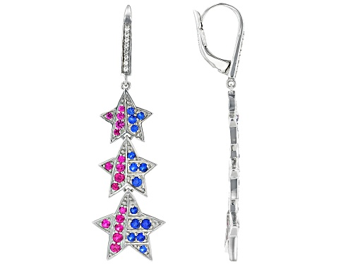 Photo of 1.28ctw Lab Created Red & Blue Spinel & White Sapphire Rhodium Over Silver Dangle Star Earrings