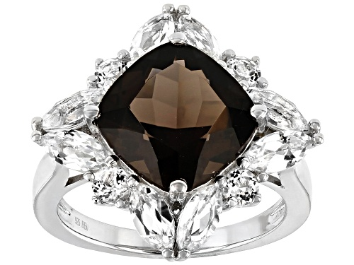 Photo of 4.34CT CUSHION SMOKY QUARTZ WITH 2.43CTW WHITE TOPAZ RHODIUM OVER STERLING SILVER RING - Size 7