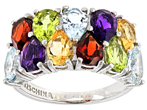Photo of 4.64ctw Pear Shape Multi-Gemstone Rhodium Over Sterling Silver Band Ring - Size 6