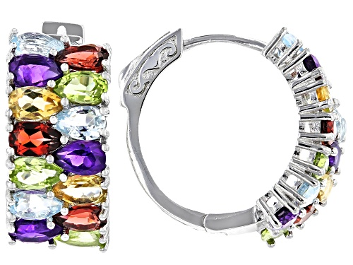 Photo of 5.88ctw Pear Shape Multi-Gemstone Rhodium Over Sterling Silver Hoop Earrings