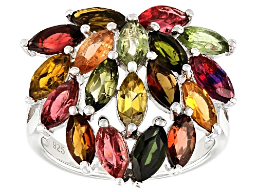 Photo of 3.40ctw Marquise Multi-Color Tourmaline Rhodium Over Sterling Silver Cluster Ring - Size 7