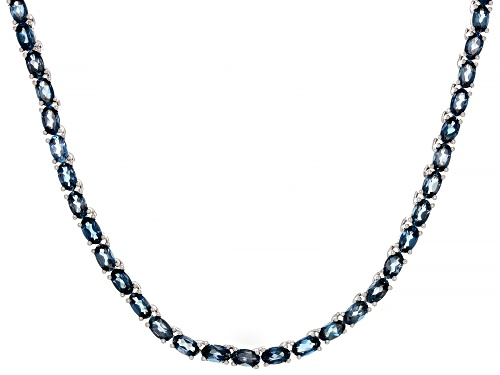 Photo of 19.04ctw Oval London Blue Topaz Rhodium Over Sterling Silver Tennis Necklace - Size 18