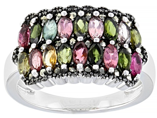 Photo of 1.07ctw Marquise Multi-Color Tourmaline & Marcasite Rhodium Over Silver Band Ring - Size 7