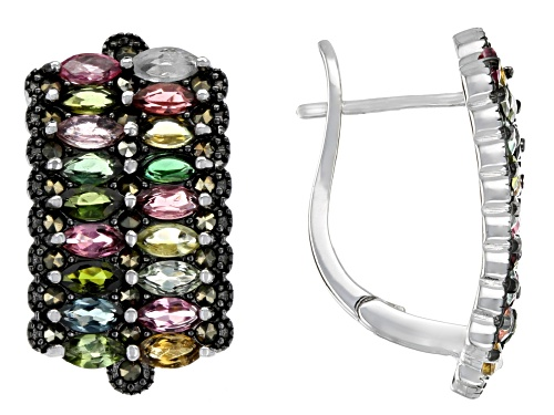 Photo of 2.14ctw Marquise Multi-Color Tourmaline & Marcasite Rhodium Over Silver Earrings
