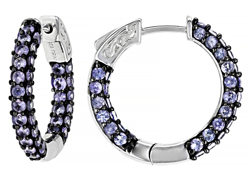 Photo of 3.48CTW ROUND TANZANITE RHODIUM OVER SILVER INSIDE/OUTSIDE HOOP EARRINGS