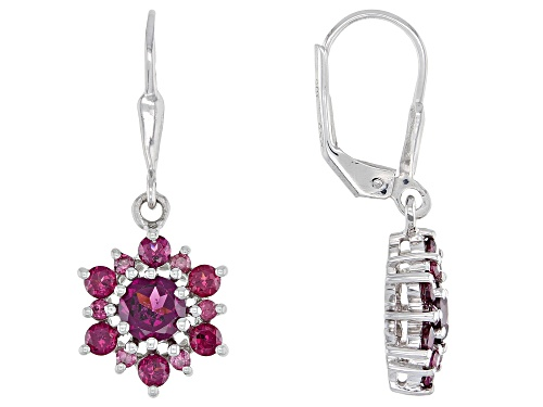 Photo of 1.90ctw Round Raspberry Color Rhodolite Rhodium Over Sterling Silver Dangle Earrings