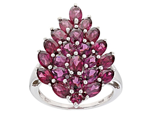 Photo of 4.67ctw Mixed Raspberry Color Rhodolite Rhodium Over Sterling Silver Pear Shape Cluster Ring - Size 7