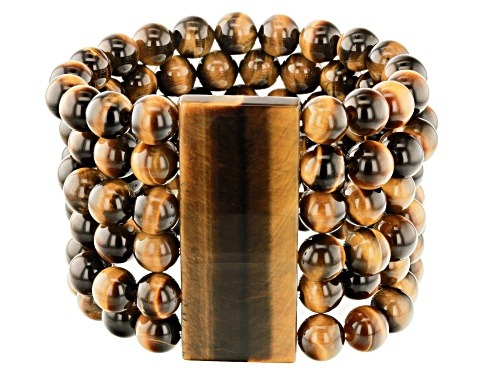 Photo of Rectangle And 10mm Round Bead Tiger's Eye Multi-Row Stretch Bracelet