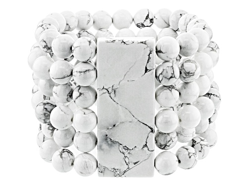 Photo of Rectangle And 10mm Round Bead White Howlite Simulant Multi-Row Stretch Bracelet