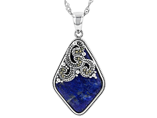 Photo of Free-Form Lapis Lazuli with Round Gray Marcasite Rhodium Over Sterling Silver Pendant with Chain