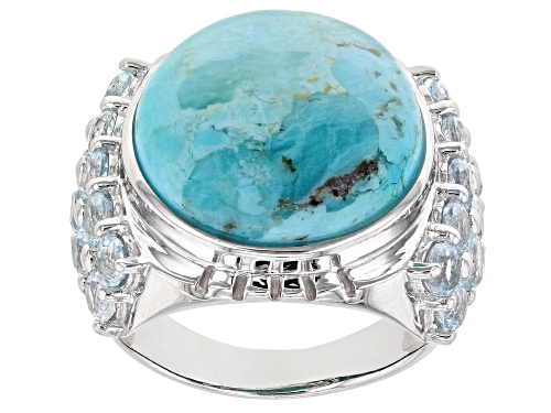 Photo of 16mm round cabochon turquoise with 2.38ctw round Glacier Topaz(TM) rhodium over sterling silver ring - Size 7