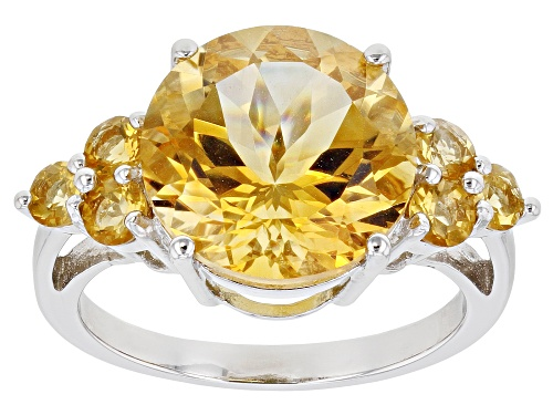 Photo of 5.79ctw Round Citrine Rhodium Over Sterling Silver Ring - Size 8