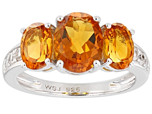 Photo of 2.70ctw Oval Madeira Citrine With .23ctw Round White Zircon Rhodium Over Sterling Silver Ring - Size 8